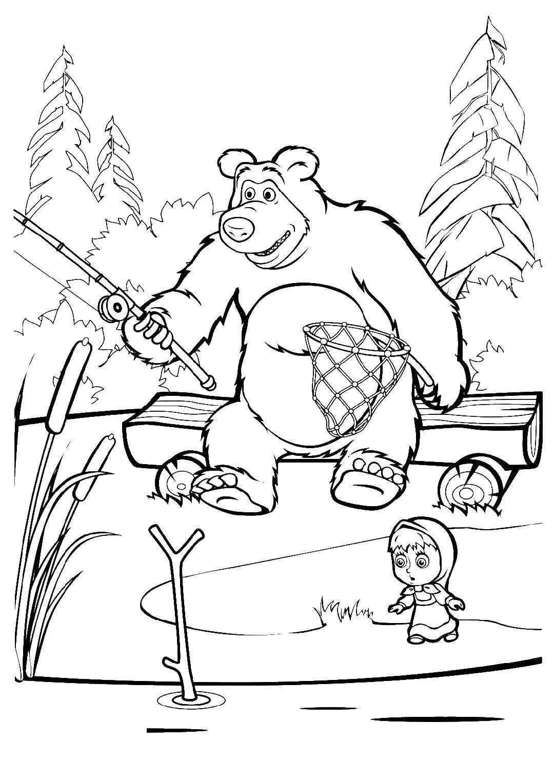 раскраски раскраска маша и медведь рыбачит маша и медведь