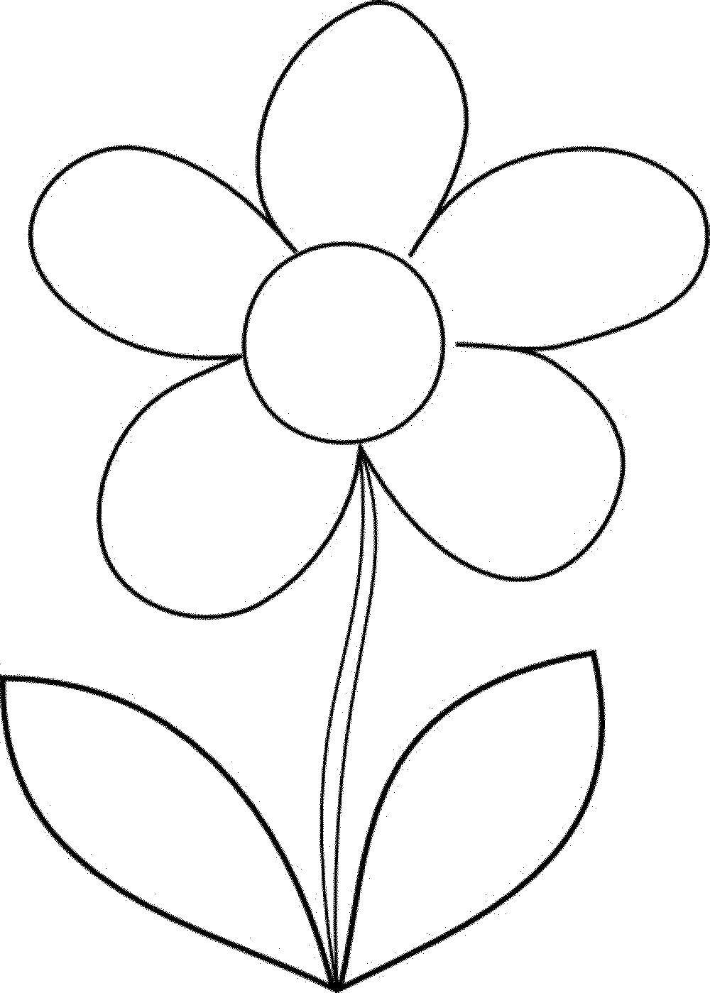 Раскраска 5 лепестков Скачать Цветы.  Распечатать ,простые раскраски,