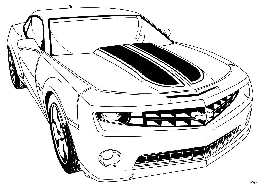 Раскраска Автомобиль шевроле Скачать ,машины, автомобили, Шевроле,.  Распечатать
