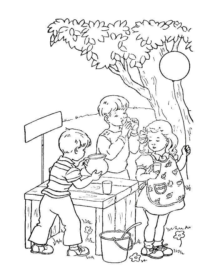 Раскраска Дети пьют лимонад Скачать дети, отдых, игры, лимонад.  Распечатать ,дети,