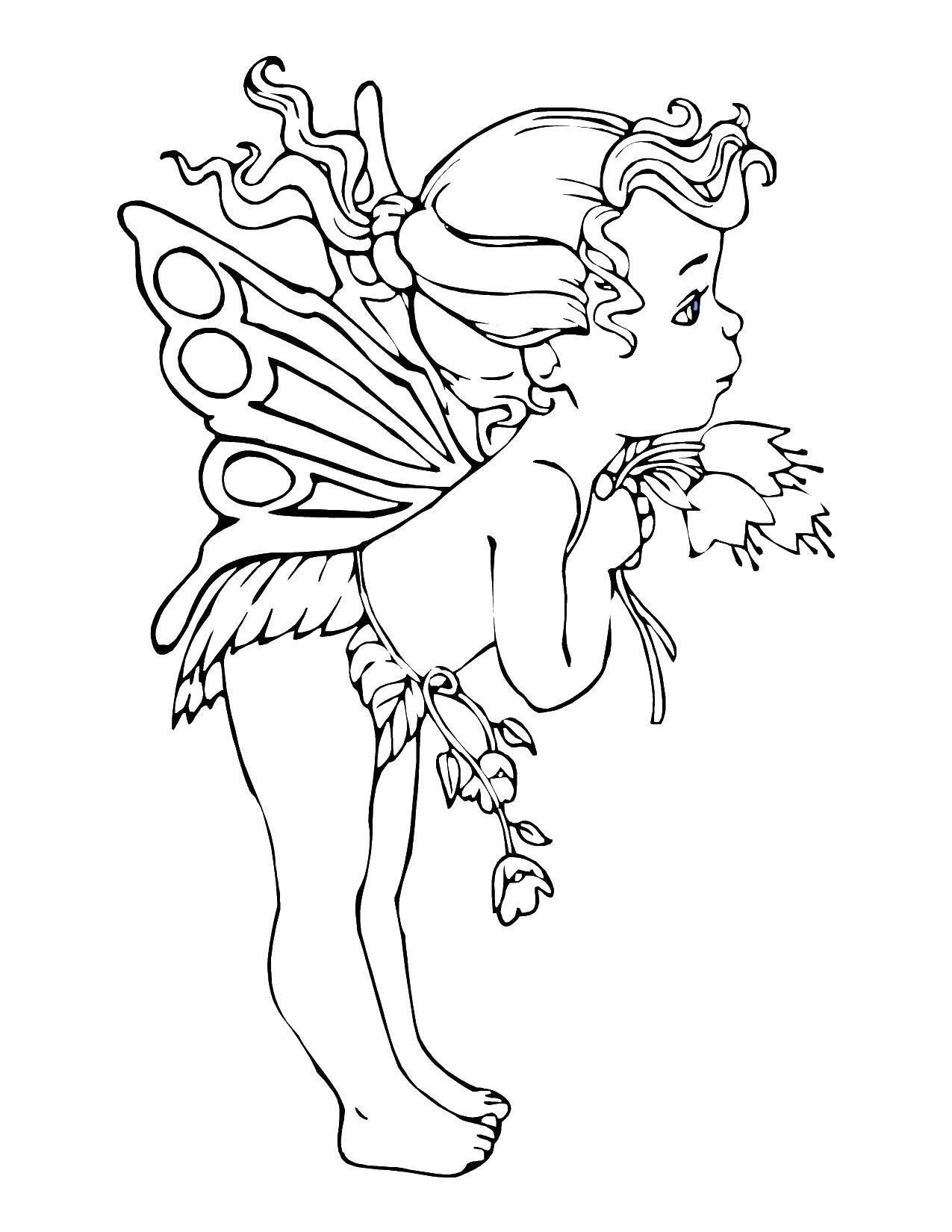 Раскраска Девочка фея с цветочками. Скачать дети, девочка, цветочки.  Распечатать ,дети,