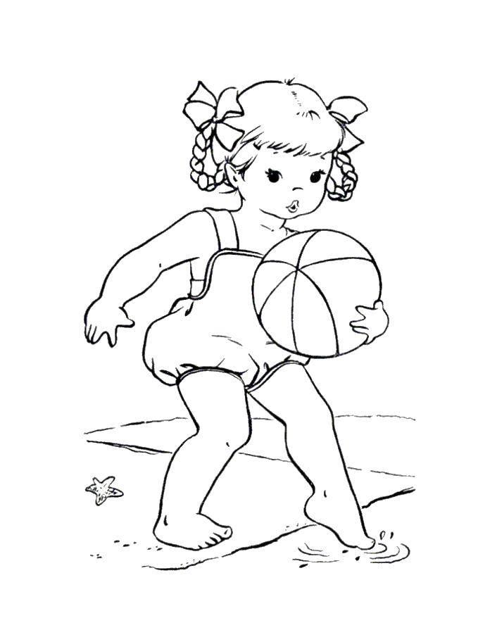 Раскраска Девочка играет на пляже с мячом Скачать Пляж, дети, игры.  Распечатать ,Пляж,