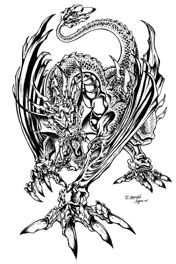 Раскраска Гигантский дракон.. Скачать Драконы.  Распечатать ,Драконы,
