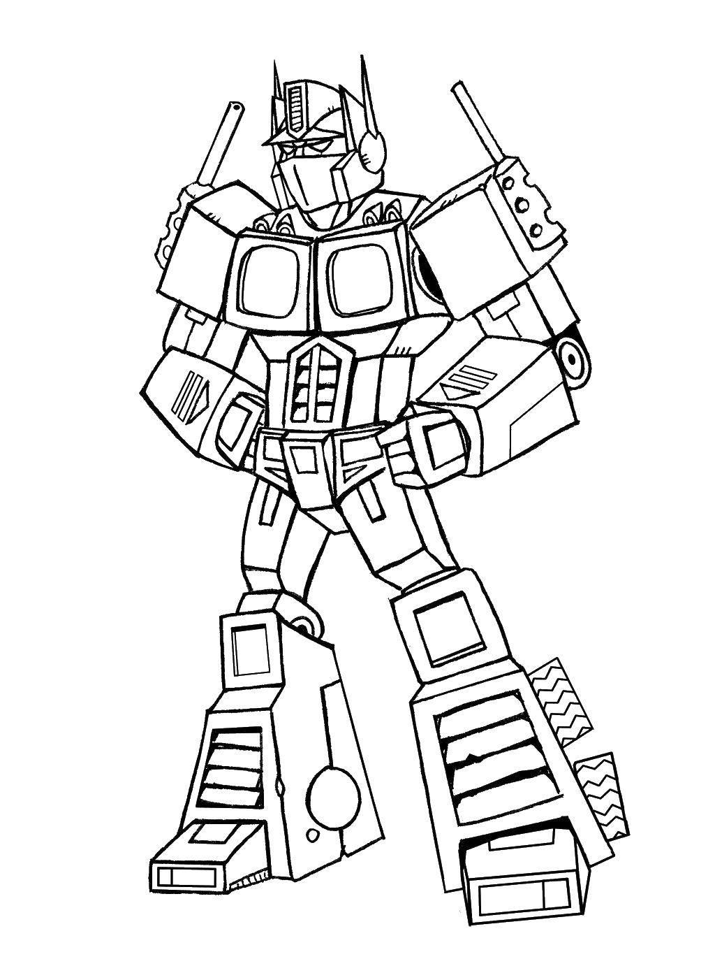 Название: Раскраска Грозный робот. Категория: Для мальчиков. Теги: Робот.