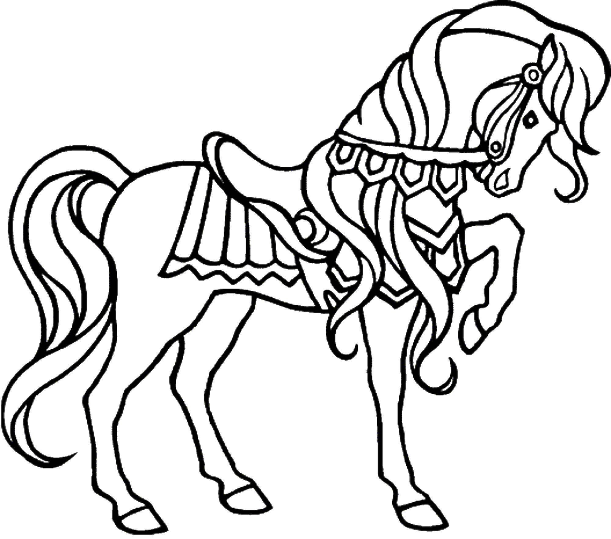 Раскраска Лошадка извозчика Скачать ,Животные, лошадь,.  Распечатать