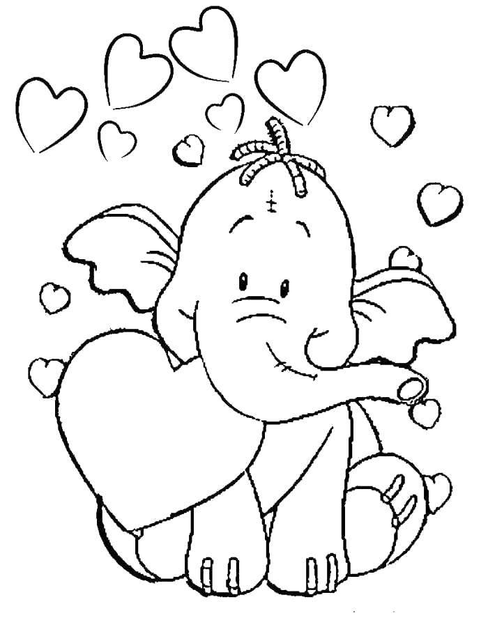 Раскраска Слоник влюбился Скачать Животные, слоненок, сердечки.  Распечатать ,раскраски для девочек,
