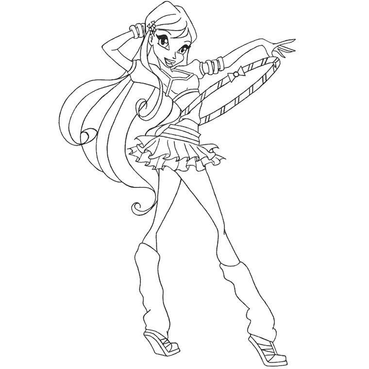 Раскраска Стелла с обручем Скачать Персонаж из мультфильма, Winx.  Распечатать ,Винкс,