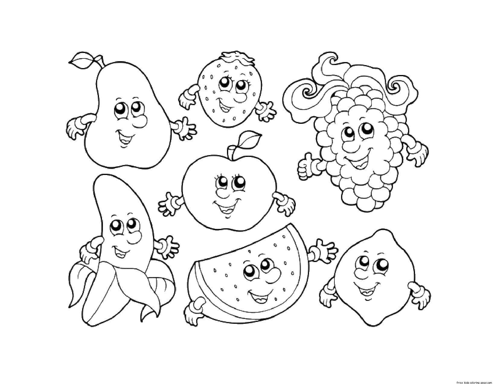 Раскраска Веселые ягоды и фрукты Скачать фрукты, ягоды.  Распечатать ,Фрукты,