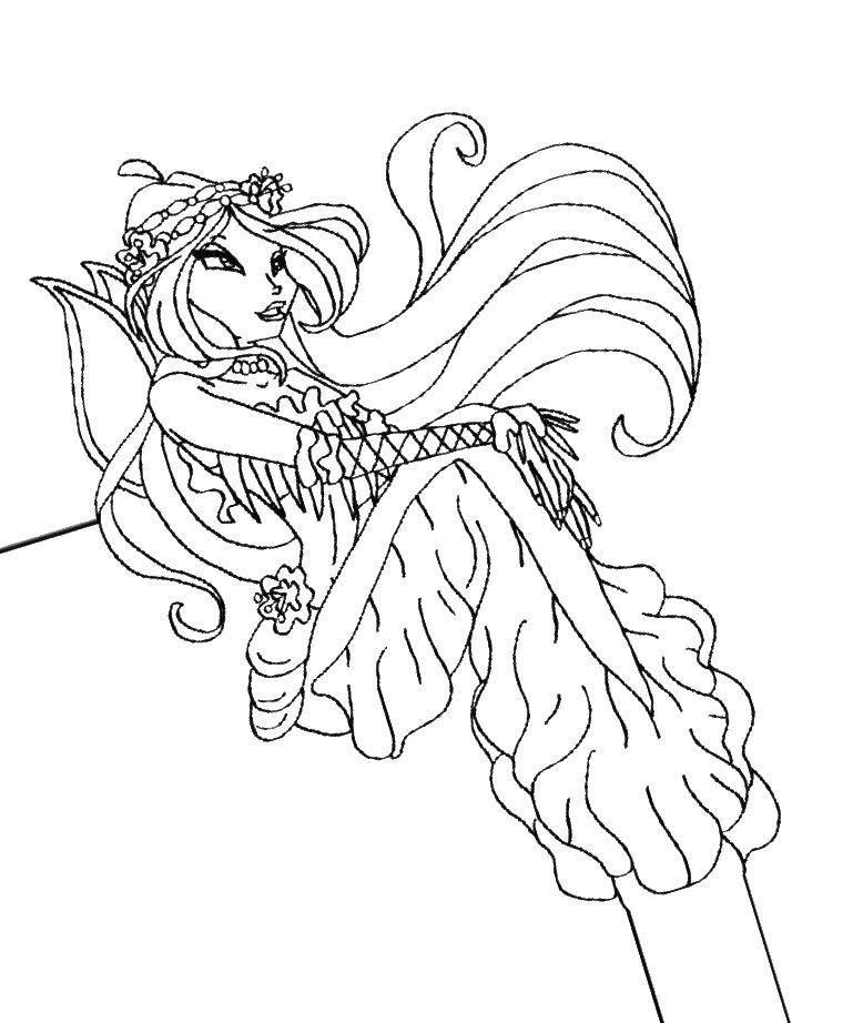 Раскраска Винкс Скачать мини, принцессы, дисней.  Распечатать ,Диснеевские раскраски,