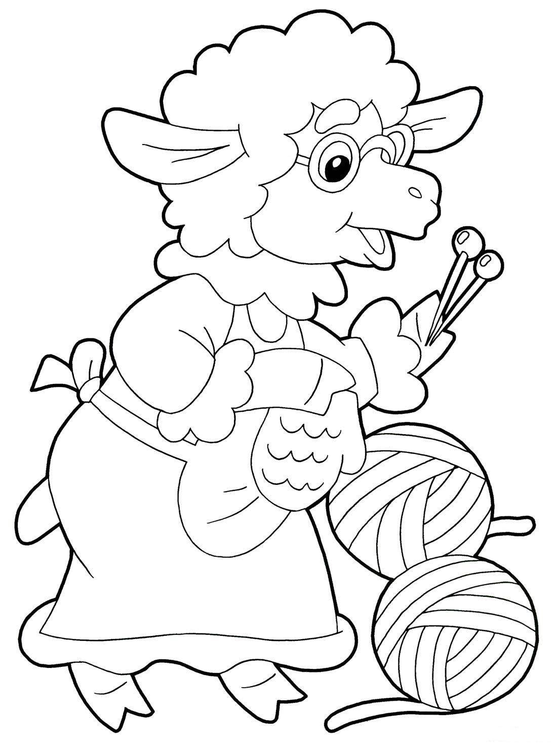 Название: Раскраска Рисунок бабушки барашки со спицами. Категория: домашние животные. Теги: баран.