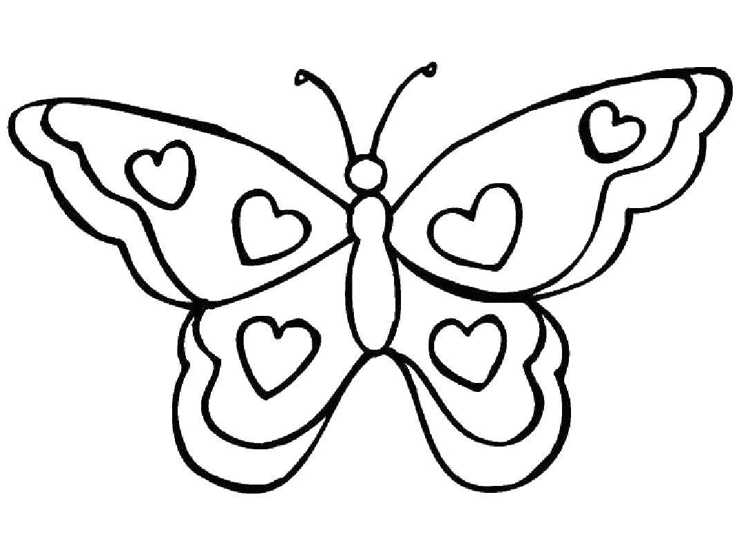 Раскраска Бабочка с сердечками Скачать сердечки, крылья, крылышки, бабочка.  Распечатать ,Бабочка,
