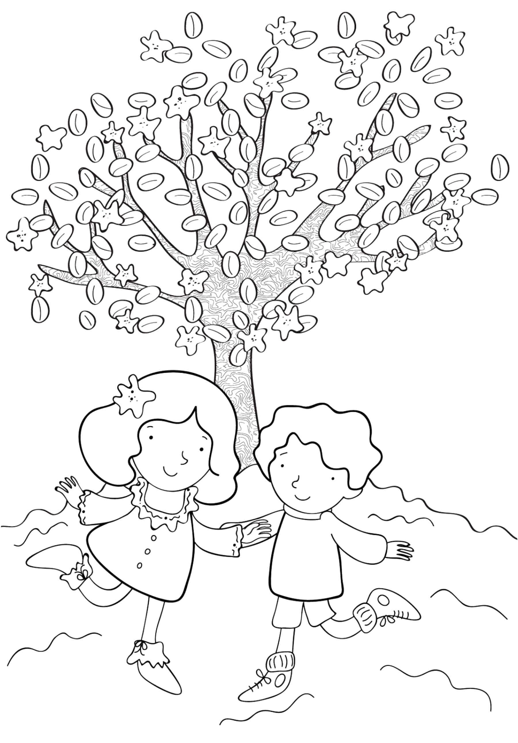 Раскраска Дети гуляют пол деревом Скачать Дети, игры, отдых, природа.  Распечатать ,отдых,