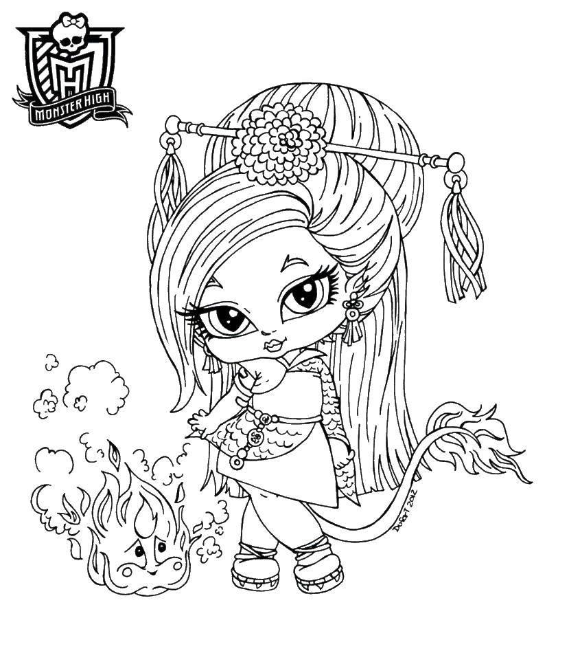 Раскраска Джинафаер лонг дочь китайского дракона Скачать ,Джинафаер Лонг , Монстр хай,.  Распечатать