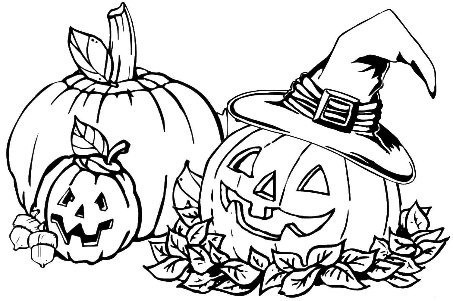 Раскраска Хэллоуинская тыква в шляпке ведьмы. Скачать Хэллоуин, тыква.  Распечатать ,Хэллоуин,