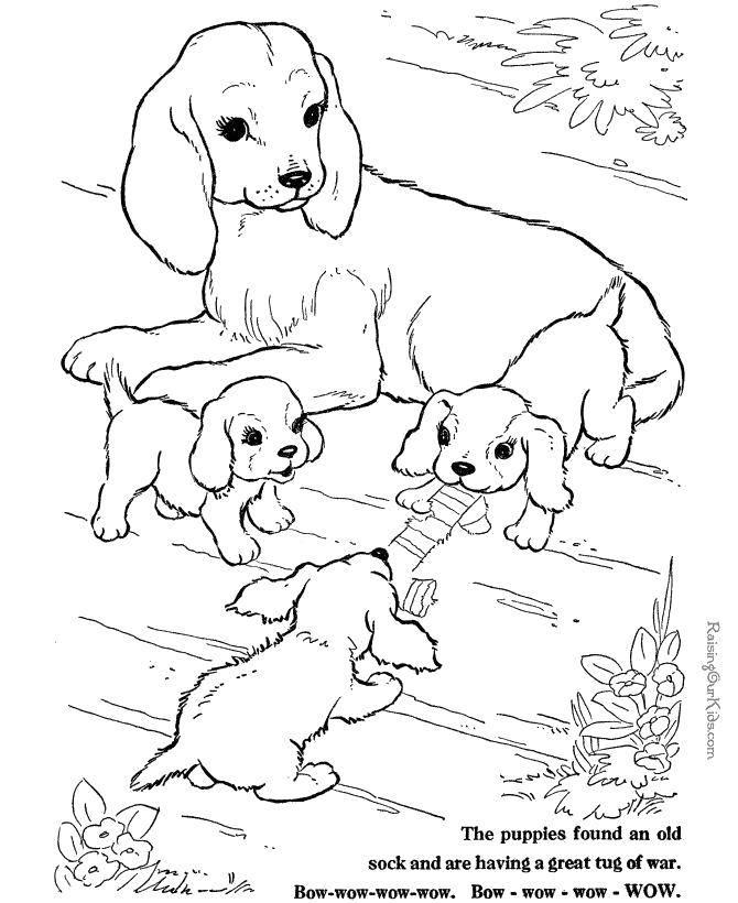 Раскраска Игры щенят возле мамы Скачать Животные, собака.  Распечатать ,детеныши животных,