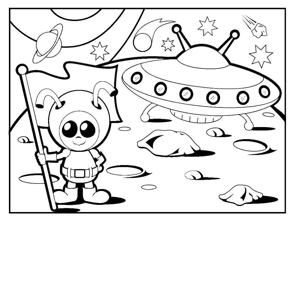 Раскраска Инопланетянен с флагом Скачать инопланетянен, флаг.  Распечатать ,Летающие тарелки,