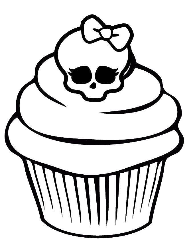 Раскраска Кекс с черепом Скачать кекс, череп, бантик.  Распечатать ,Монстр хай,