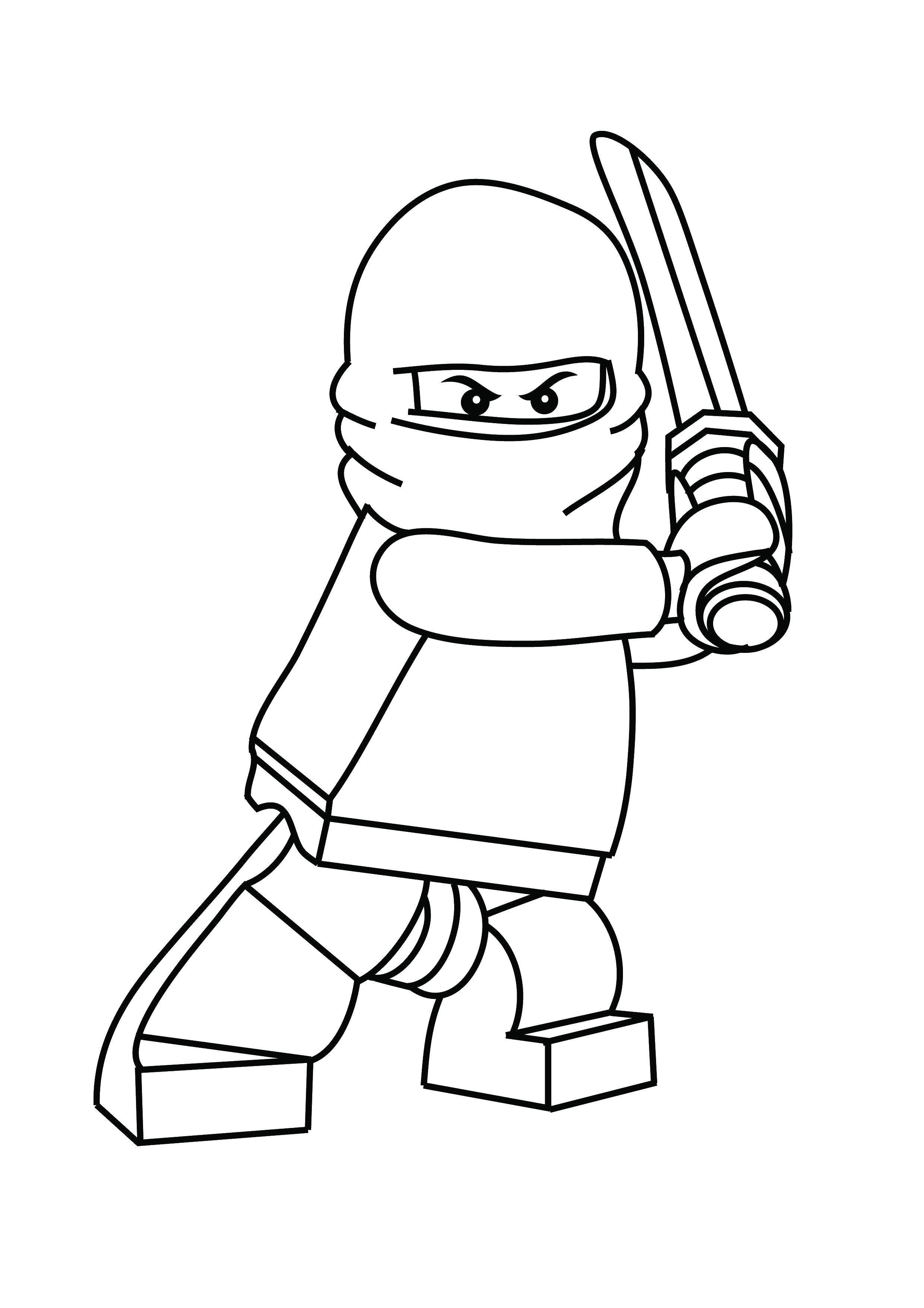Раскраска Лего ниндзя с мечом Скачать лего, ниндзя, .  Распечатать ,Лего,