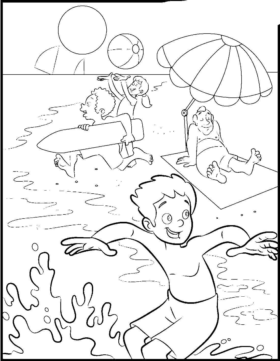 Раскраска Пляж Скачать мороженое.  Распечатать ,мороженое,