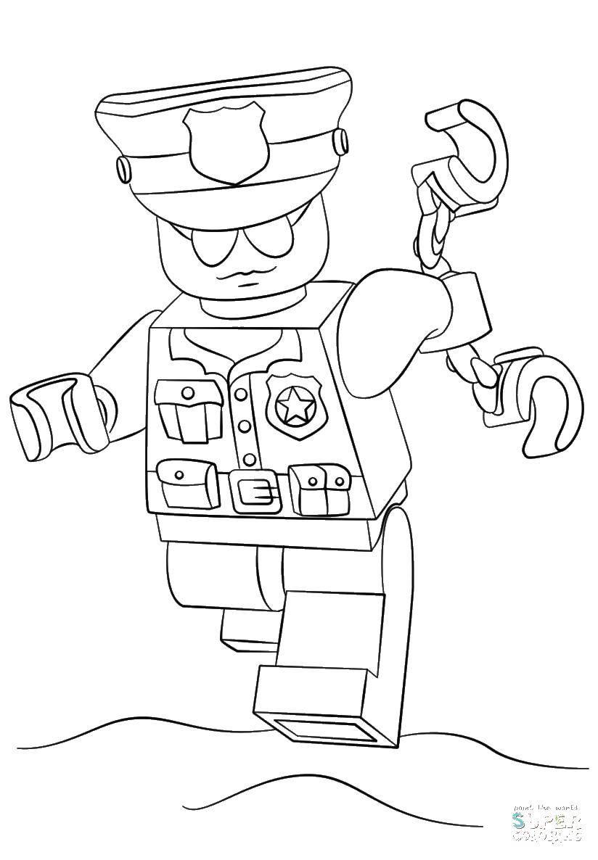 Раскраска Полицейский лего с наручниками Скачать Конструктор, Лего.  Распечатать ,Лего,