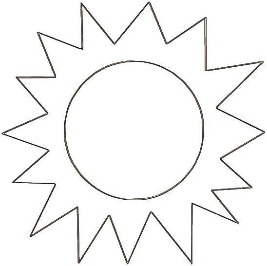 Раскраска Солнышко с яркими лучами Скачать Солнце, лучи, радость.  Распечатать ,Раскраски для малышей,