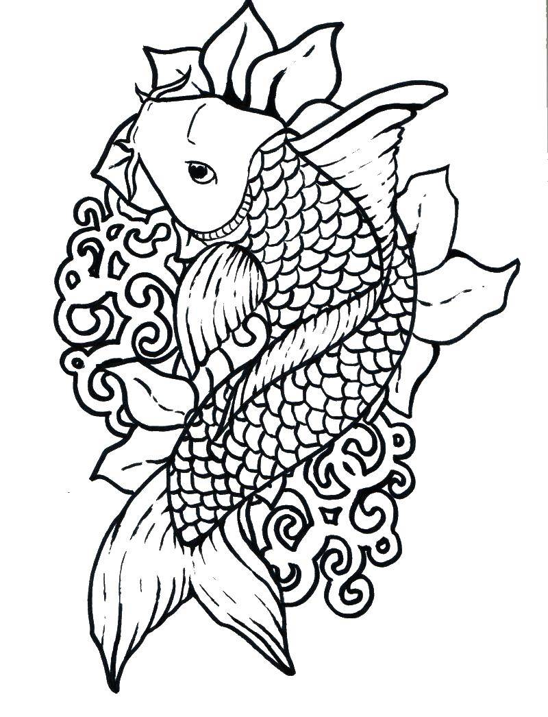 Раскраска рыбы Скачать собака.  Распечатать ,животные,