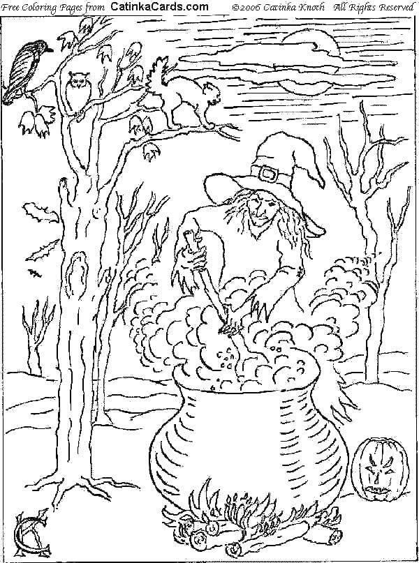 Раскраска Ведьма и котел. Скачать ведьм, котел, тыква, костер, луна.  Распечатать ,Хэллоуин,