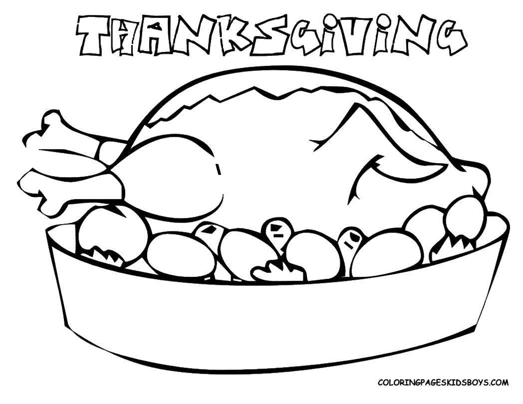 Раскраска Жаренная индейка с картофелем Скачать индейка, тарелка, картошка.  Распечатать ,день благодорения,