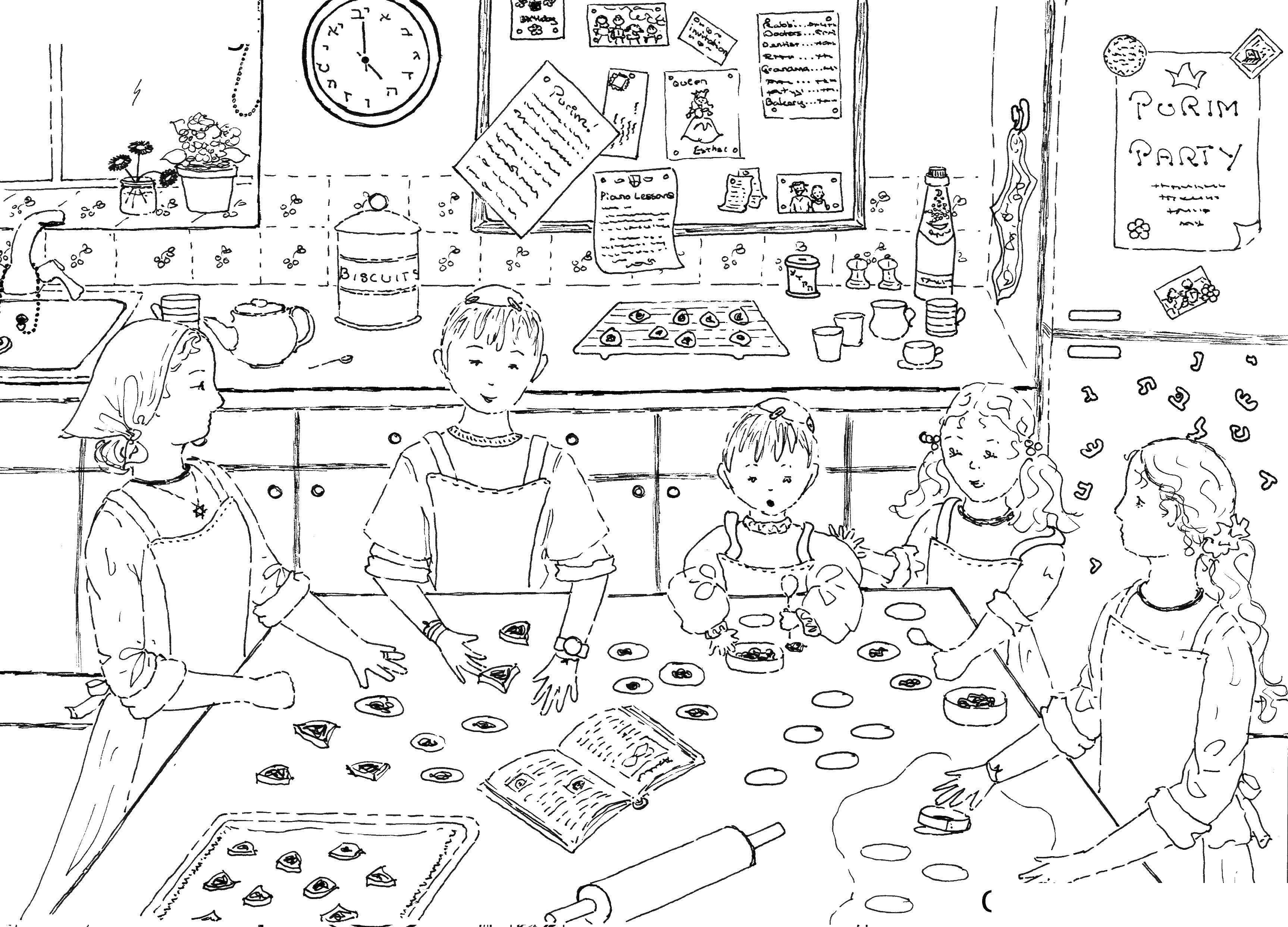 Раскраска Готовим еду Скачать ,семья, готовка,.  Распечатать