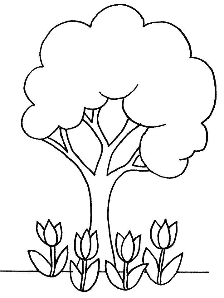 Раскраска 4 тюльпанчика под деревцем Скачать Цветы.  Распечатать ,растения,