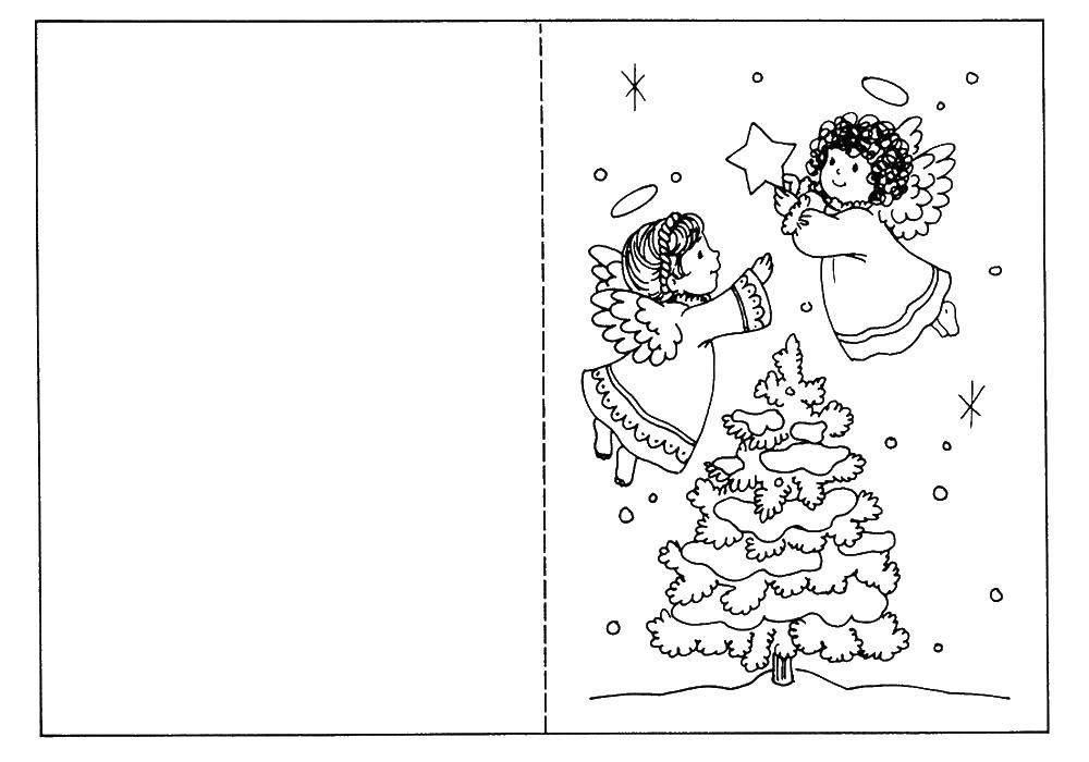 Раскраска Ангелы украшают елку Скачать ангелы, елка.  Распечатать ,открытки,