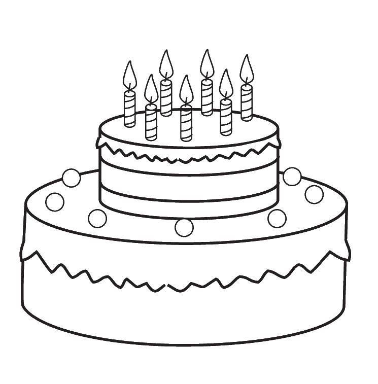 Раскраска Двух этажный торт Скачать торт, свечки.  Распечатать ,торты,