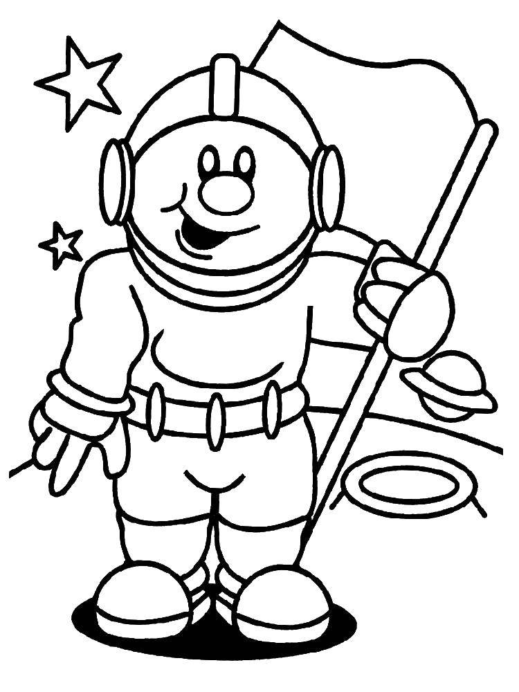 Раскраска Космонавт с флагом Скачать космос, планета, ракета, Гагарин, день космонавтики, космонавт.  Распечатать ,День космонавтики,