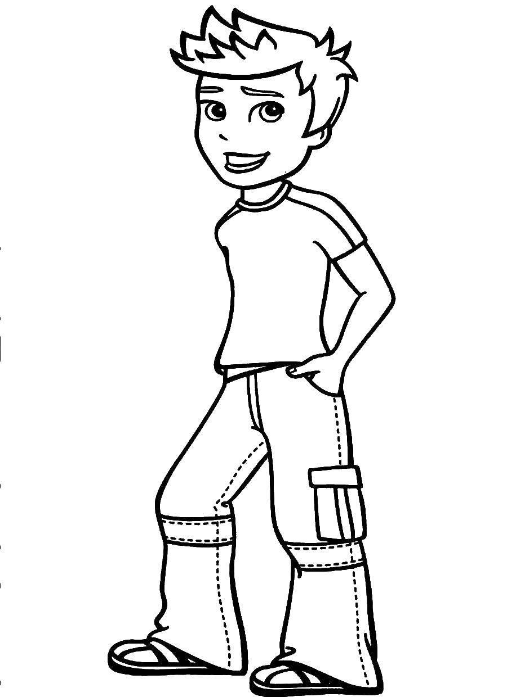 Раскраска Мальчик в джинсах Скачать Мальчик, девочка.  Распечатать ,для мальчиков,