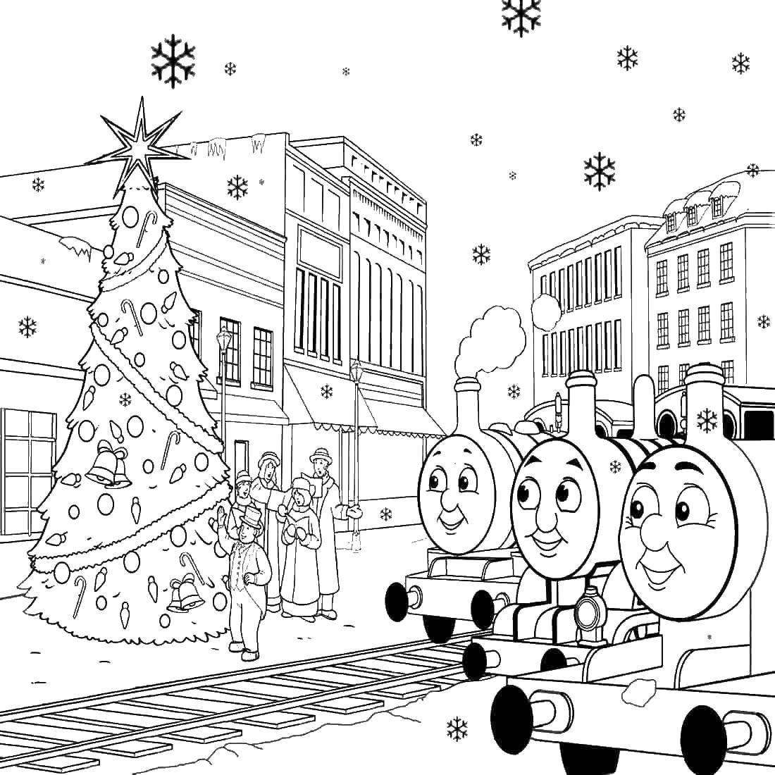Раскраска Поезда у рождественской елки Скачать поезда, елка, рождество.  Распечатать ,поезд,
