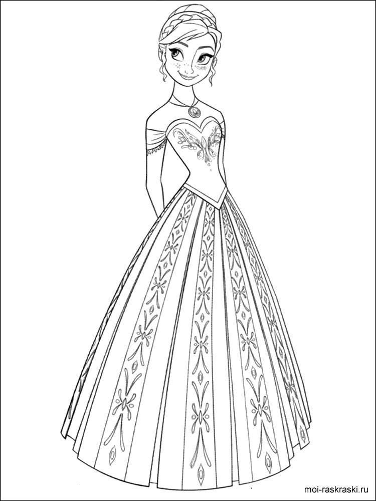 Раскраска Принцесса анна Скачать Дисней, Эльза, Холодное сердце, принцесса.  Распечатать ,раскраски холодное сердце,
