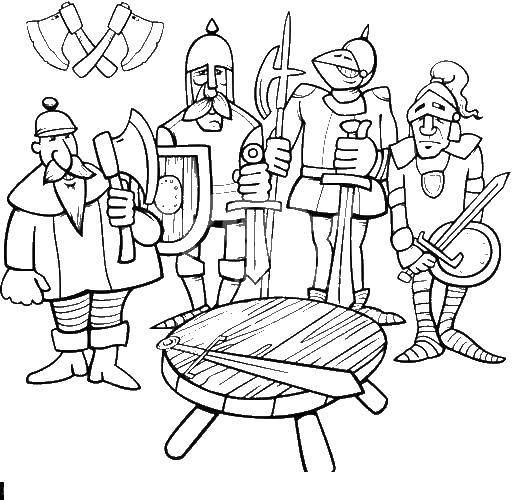 Раскраска Рыцари с оружием мечем. Скачать оружие, меч.  Распечатать ,оружие,