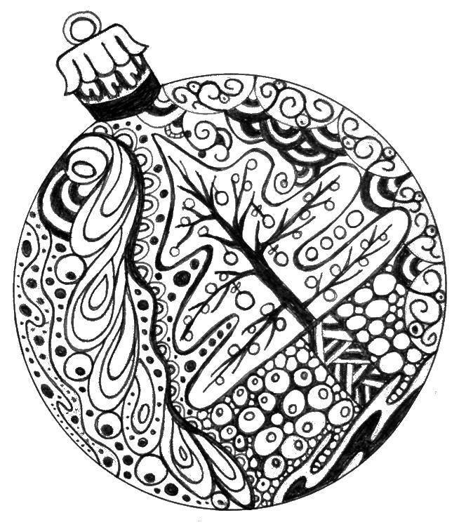 Раскраска Шарик с рисунком елки Скачать новый год, елка.  Распечатать ,новый год,