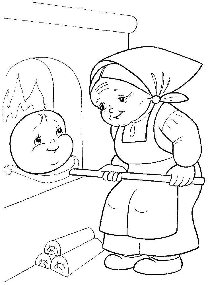 Раскраска Старушка печет колобок. Скачать сказки, колобок, мультфильмы.  Распечатать ,Сказки,