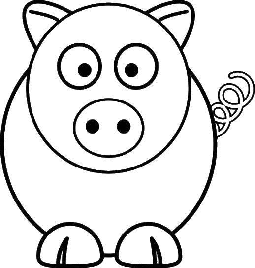 Раскраска Свинка с пяточком Скачать ,свинка, пятачок,.  Распечатать