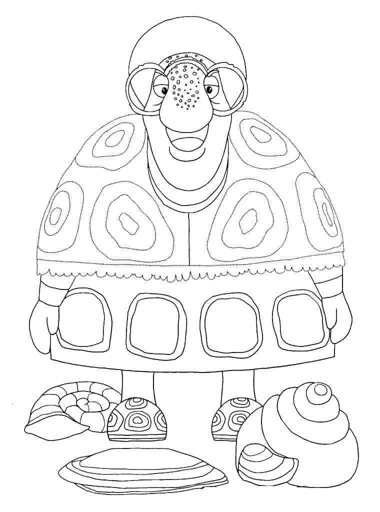 Раскраска Тетя мотя старая черепаха. Скачать тетя Мотя, старая черепаха, Лунтик.  Распечатать ,Лунтик,