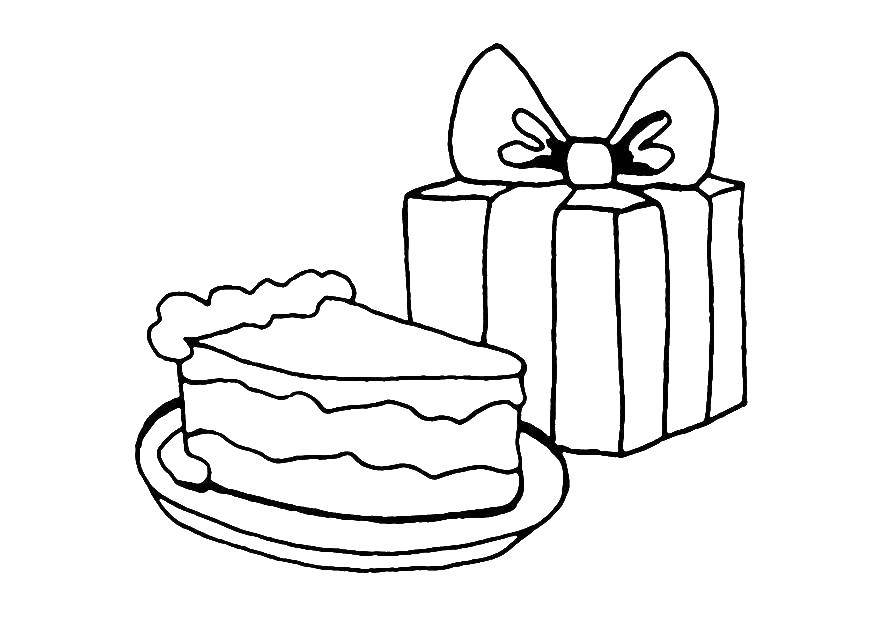 Раскраска Тортик и подарочек Скачать торты, подарочек.  Распечатать ,торты,