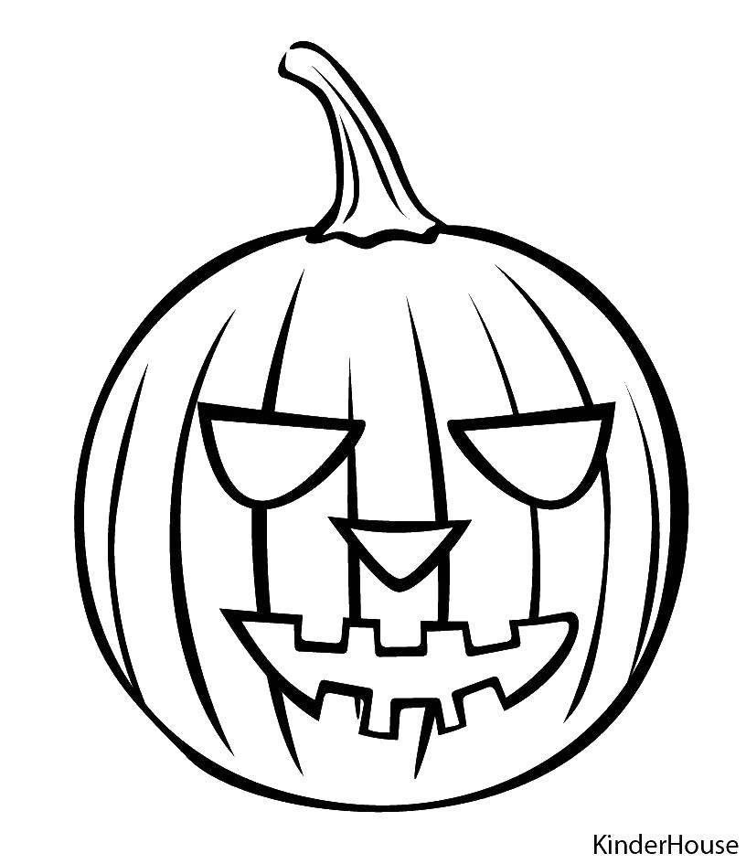 Раскраска Тыква на хэллоуин. Скачать тыквы, Хэллоуин.  Распечатать ,Хэллоуин,