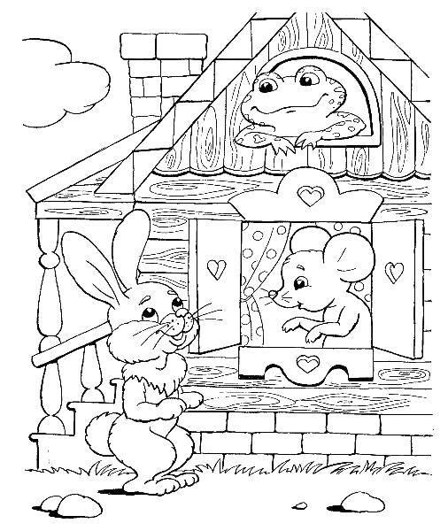 раскраски теремок раскраска лягушка заяц и мышка сказка
