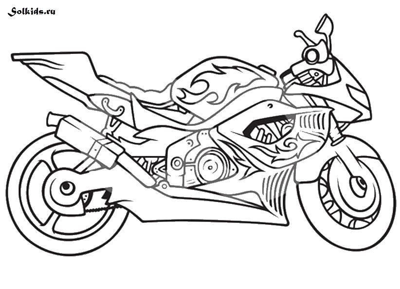 Раскраска мотоцикл Скачать ,мотоциклы, пламя, транспорт,.  Распечатать