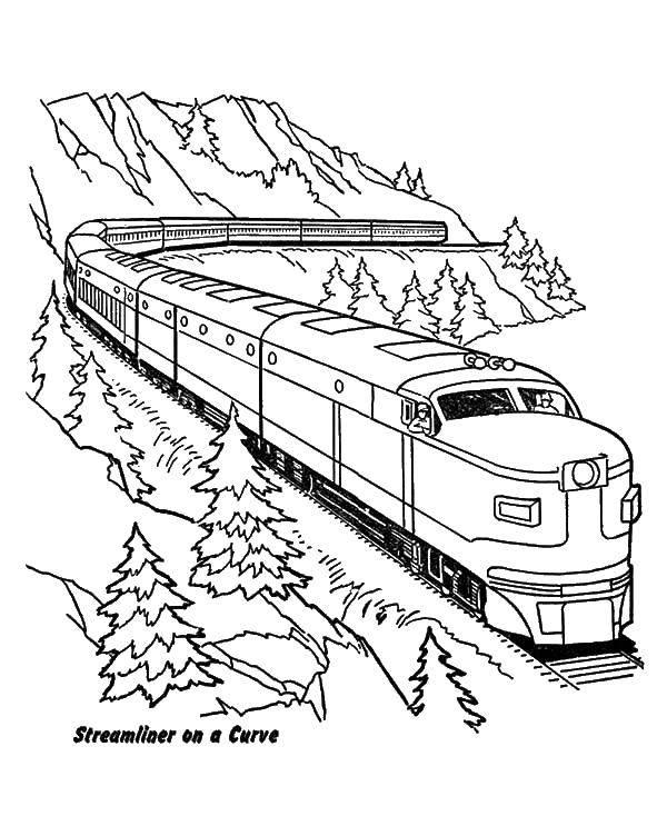Раскраска поезд Скачать ,поезда, горы, транспорт,.  Распечатать