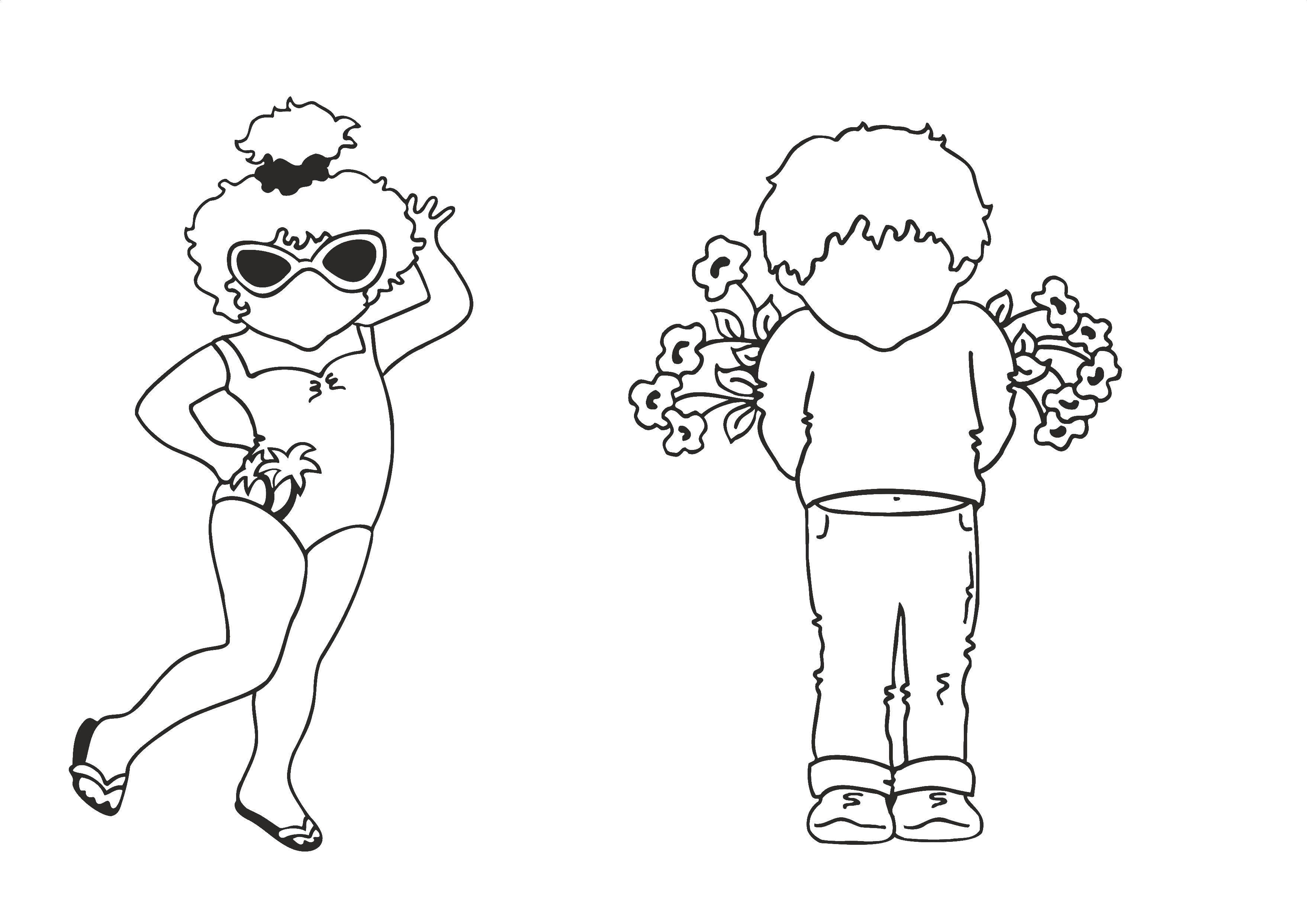 Раскраска Девочка в купальнике Скачать девочка, купальник.  Распечатать ,раскраски,