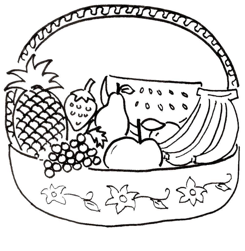 Раскраска Фрукты и ягоды в корзинке Скачать еда, фрукты, ягоды.  Распечатать ,фрукты,