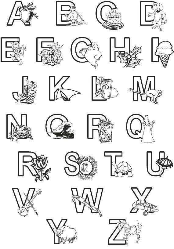 Раскраска Картинки и алфавит Скачать английский алфавит, буквы.  Распечатать ,Английский алфавит,