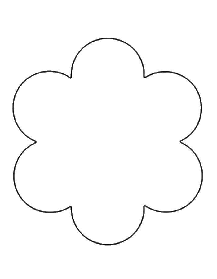 Раскраска Контур цветка для вырезания Скачать цветы, контуры, шаблоны.  Распечатать ,Контуры цветка для вырезания,